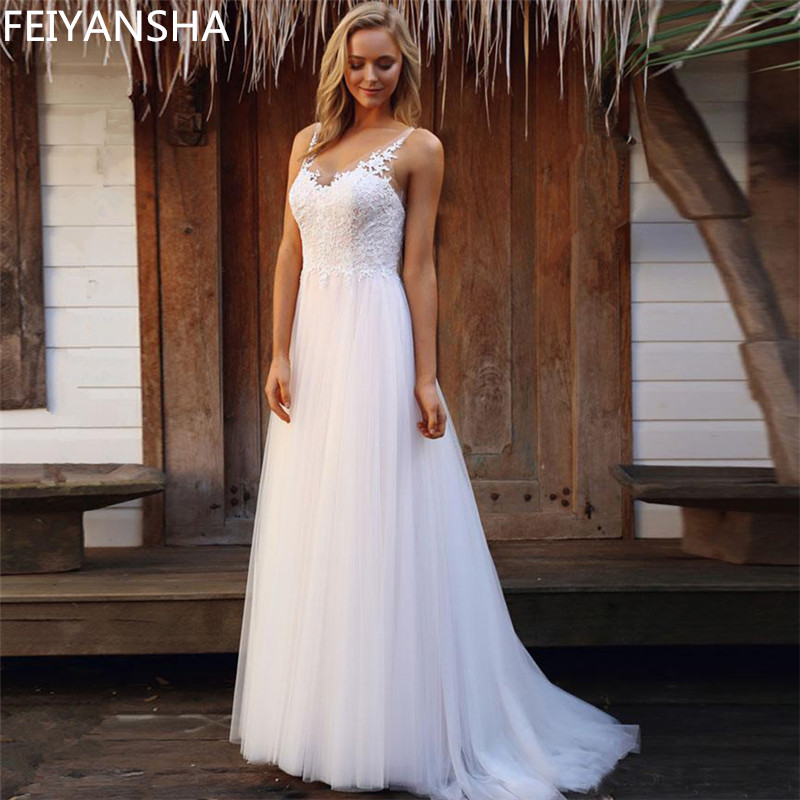 Sleeveless Wedding Dress 2019 Beach Bridal Gown Tulle Lace Appliques Wedding Dresses White/Lvory Romantic Buttons