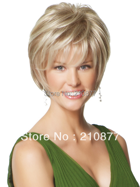 New Fashion Capless Sweet Blonde Short Side Bang Mixed Color Synthetic Hair Wig For Women