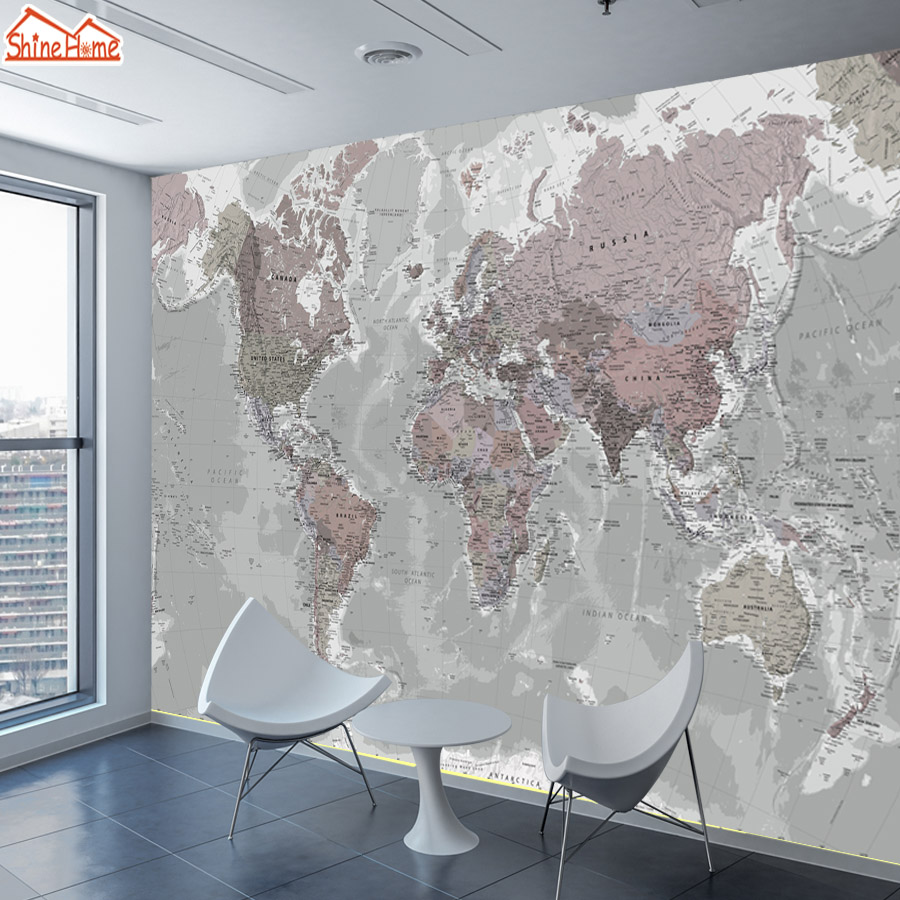 ShineHome-3d World Map Photo Wallpaper Wall Art Papers Home Decor 3d Mural Wallpapers For 3 D Living Room Sofa TV Bar Background