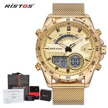 RISTOS, мужские цифровые наручные часы с хронографом, многофункциональные часы со стальной сеткой, модные мужские часы, мужские спортивные часы 9361