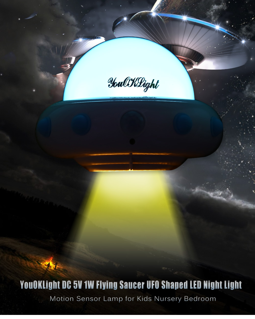 Night lights nursery - Unique Ufo Shaped Led Night Light Motion Sensor Lamp Rechargeable Stick On Anywhere Nightlights For