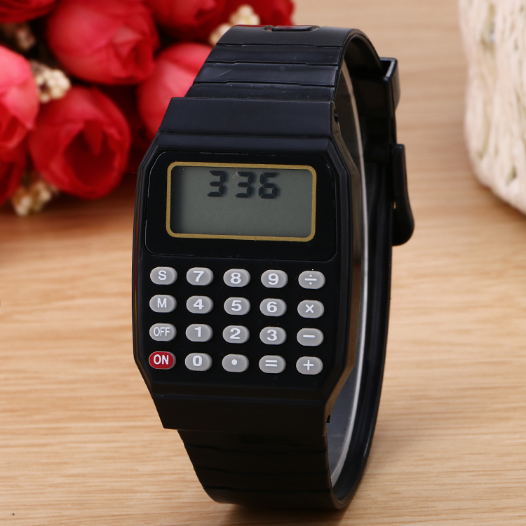 100pcs  lot new arrival calculator digital watch cute kids