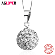 AGLOVER 925 Sterling Silver Full Zircon Crystal Round Circle Long Women Necklaces Pendant Fashion Statement Necklace Jewelry new 925 sterling silver zircon square circle necklaces pendant fashion sterling silver jewelry statement for women bijoux