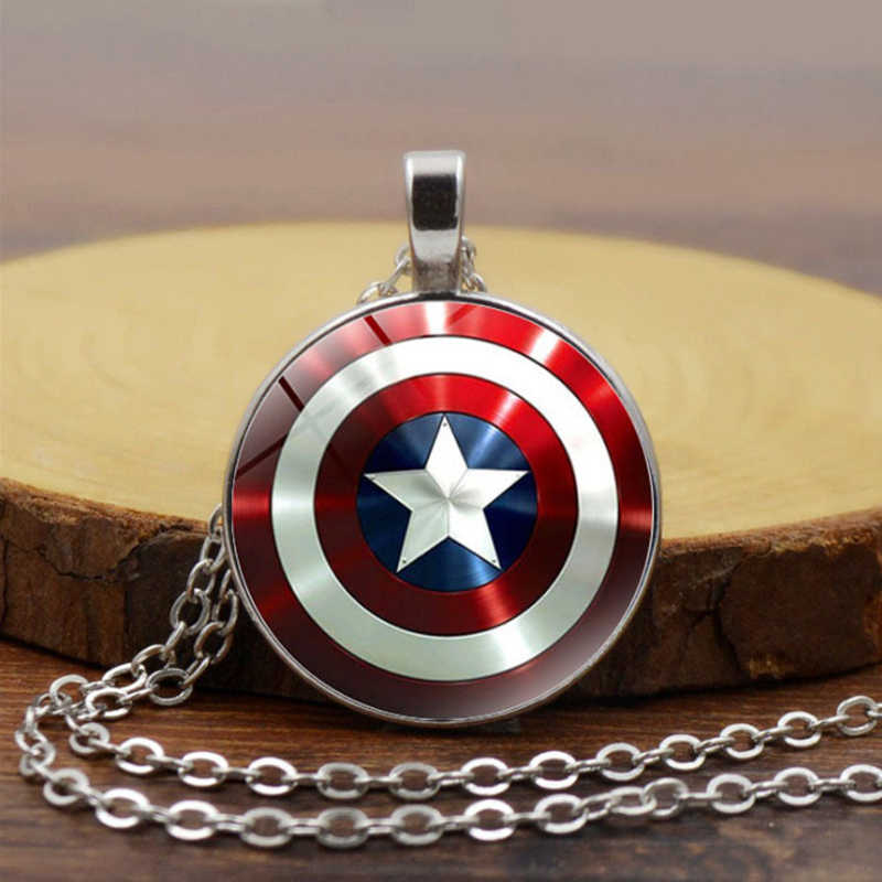 Marvel Necklace for Men Captain America Necklaces The Avengers 4 Iron man Thor Hammer Pendant For Women