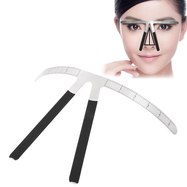 1pcs flexible metal eyebrow ruler scale positioning eyebrow forms for eyebrows styling tool 1