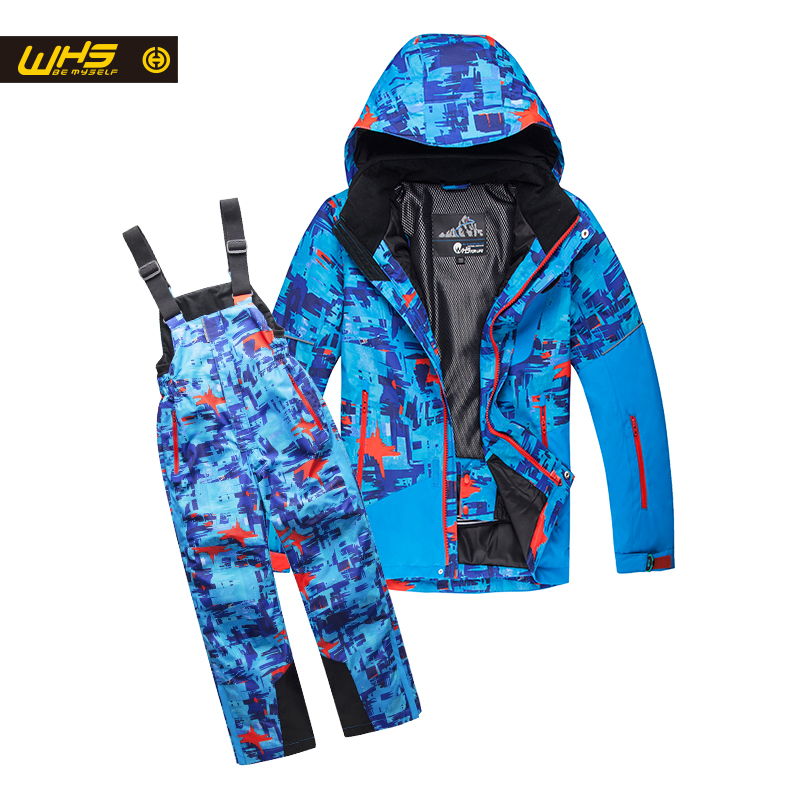 WHS Boys ski suit snow jackets & pants children skiing coat trousers Kids waterproof clothing windproof jacekt+pant 4-16 years 2016 winter boys ski suit set children s snowsuit for baby girl snow overalls ntural fur down jackets trousers clothing sets