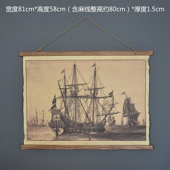 Large Retro Sailboat Linen Cloth Painting Scrolls Poster Mural Paintings Banners Hanging Art Office Loft Ornament Wall