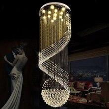 LED Modern Crystal Chandeliers Long Spiral Chandelier Lights Fixture Home Indoor Lighting Villa Hotel Lamps Home Indoor Lighting цена в Москве и Питере