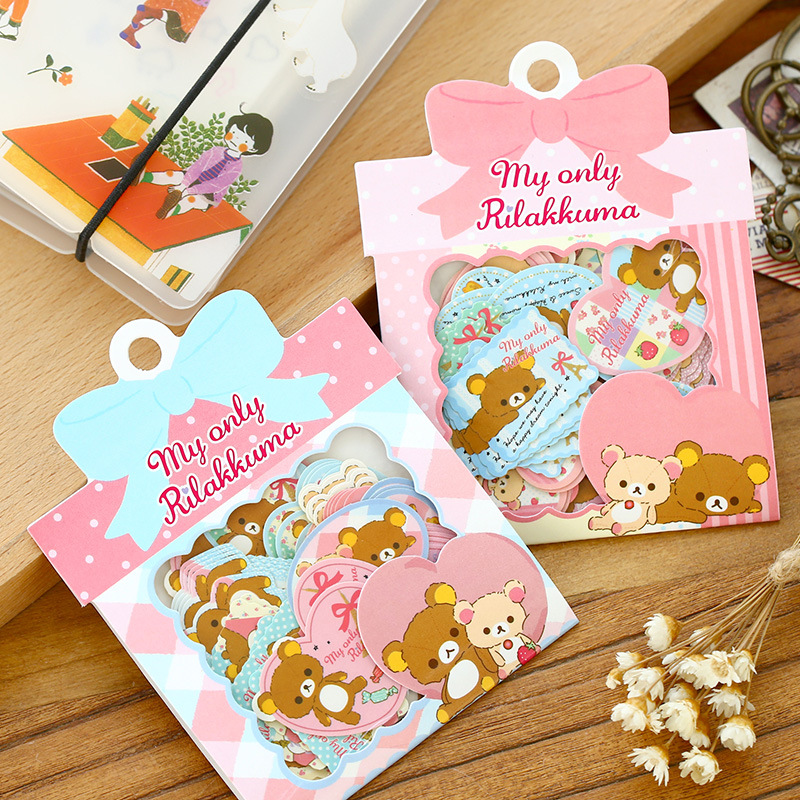 60pcs/lot DIY Cute Kawaii Cartoon Paper Stickers Lovely Rilakkuma Stickers Pack For Scrapbooking Decoration Student 3436 70 pcs lot diy cute kawaii bear owl pvc decoration stickers cartoon dog cat sticky paper for photo album student 3332
