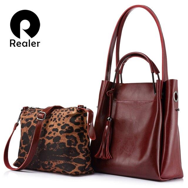 REALER brand women genuine leather handbag leopard print shoulder messenger bag female large capacity casual tote composite bags