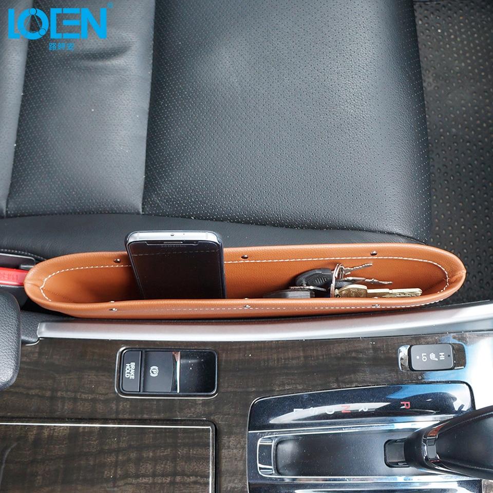1pc Berkualiti tinggi Kulit Kereta Seat Gap beg kunci telefon ringan - Aksesori dalaman kereta - Foto 2