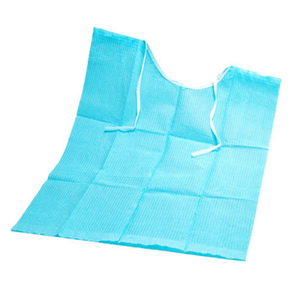 500PCS Blue Color Disposable 3Ply Dental Patient Bibs With Lacing Belt 13'' x 18''Waterproof Medical Paper Dentist Supply disposable waterproof camera with strap light blue