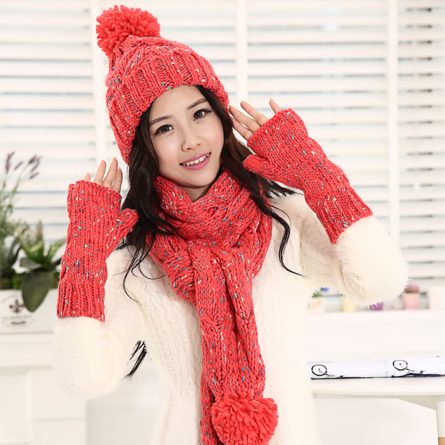 Hat scarf gloves female winter knitted thermal knitted hat scarf gloves three pieces set