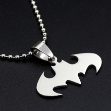 youe shone Slippy Batman necklaces between stainless steel pendant necklaces Leather Mens chain necklaces(China)