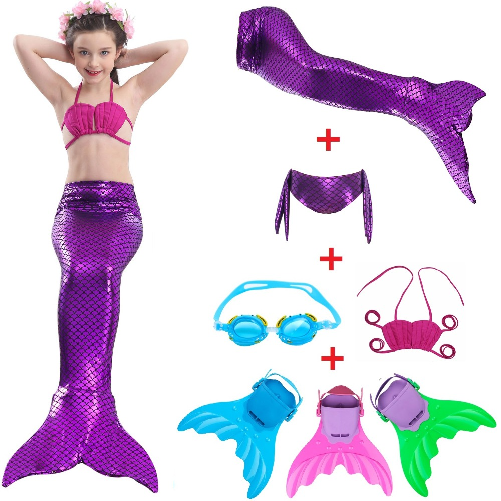Kids Mermaid Swimsuit Bikini Girls Mermaid Tail With Fin Swimsuit Children Wear Split Swimsuit Mermaid Tail Clothing Swimwear Mother & Kids