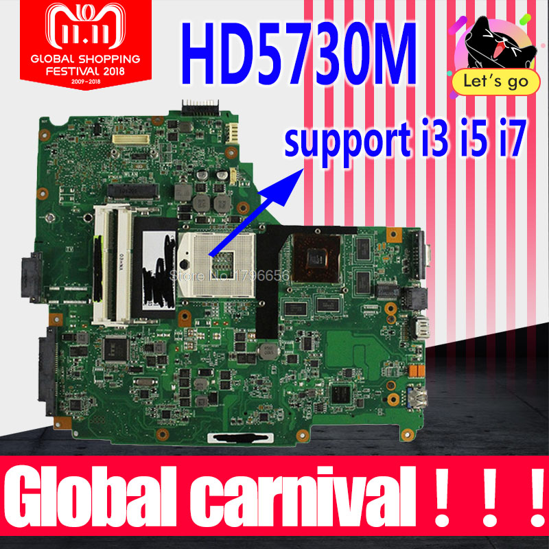 Send board+N61JA Motherboard REV:2.0 HD5730M For ASUS N61J N61JV laptop Motherboard N61JA Mainboard N61JA Motherboard test OK стоимость