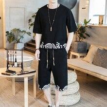Loldeal Chinese Summer Linen T-Shirt + Shorts Set Mens Short Sleeve Print Round Neck