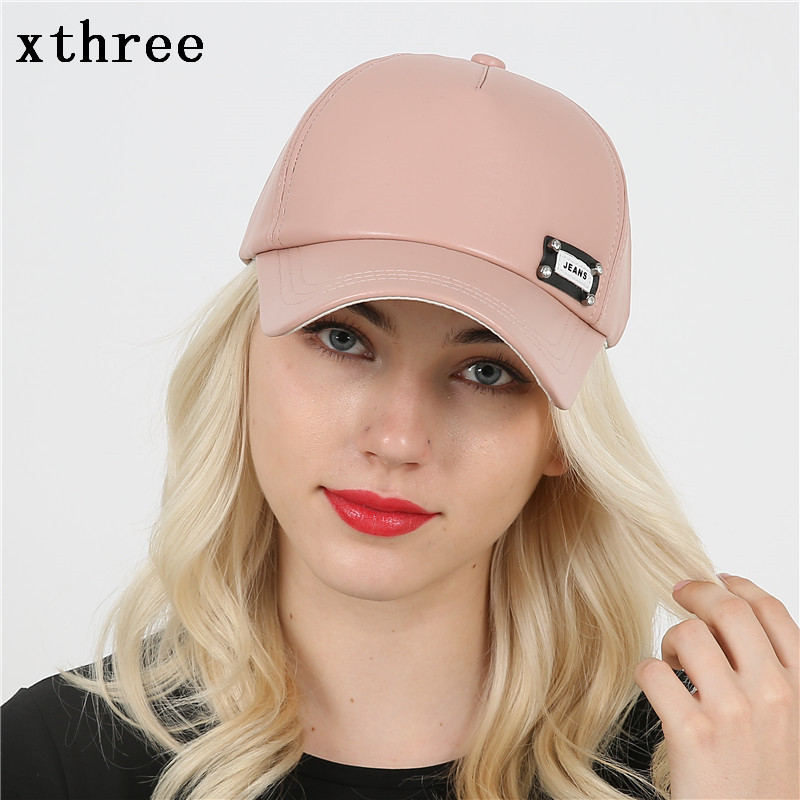 [Xthree]New fashion faux leather cap women baseball cap fall cap snapback hat for men casquette 2016 new new embroidered hold onto your friends casquette polos baseball cap strapback black white pink for men women cap