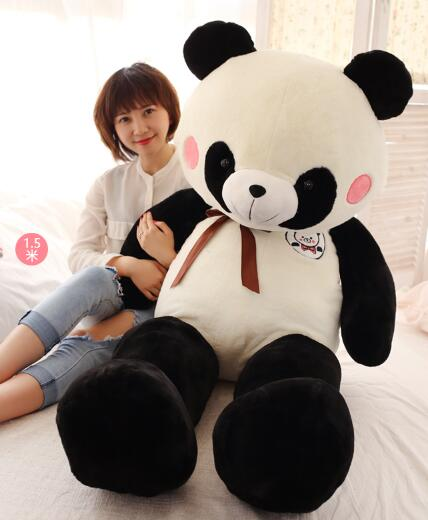 150cm Cute panda plush toy panda doll big size pillow birthday gift high quality cartoon panda i love you dress style glasses panda large 70cm plush toy panda doll throw pillow proposal christmas gift x025