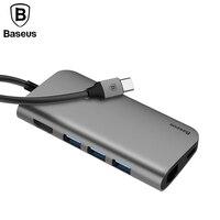 gray 8in1 USB Type C 3.1 HUB for Type C to 3 USB 3.0 / 4K HDMI / RJ45 Ethernet / Micro SD TF Card Reader / USB Type C OTG HUB
