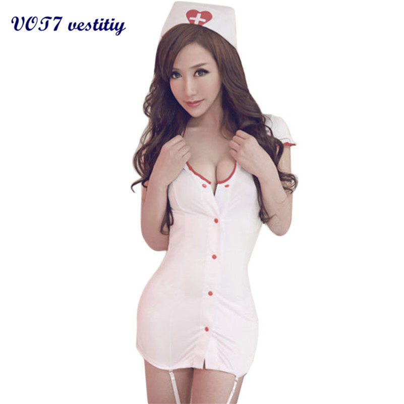 2017 Best sexy gift for lover VOT7 vestitiy Fashion Sexy Women Racy Underwear Dress Nurse Uniform Temptation White Jua 1 th