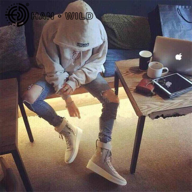 Justin Bieber Fear of God Ankle Boots 100% Genuine Leather Kanye West Boots  Men Casual 1b1c04883ab3