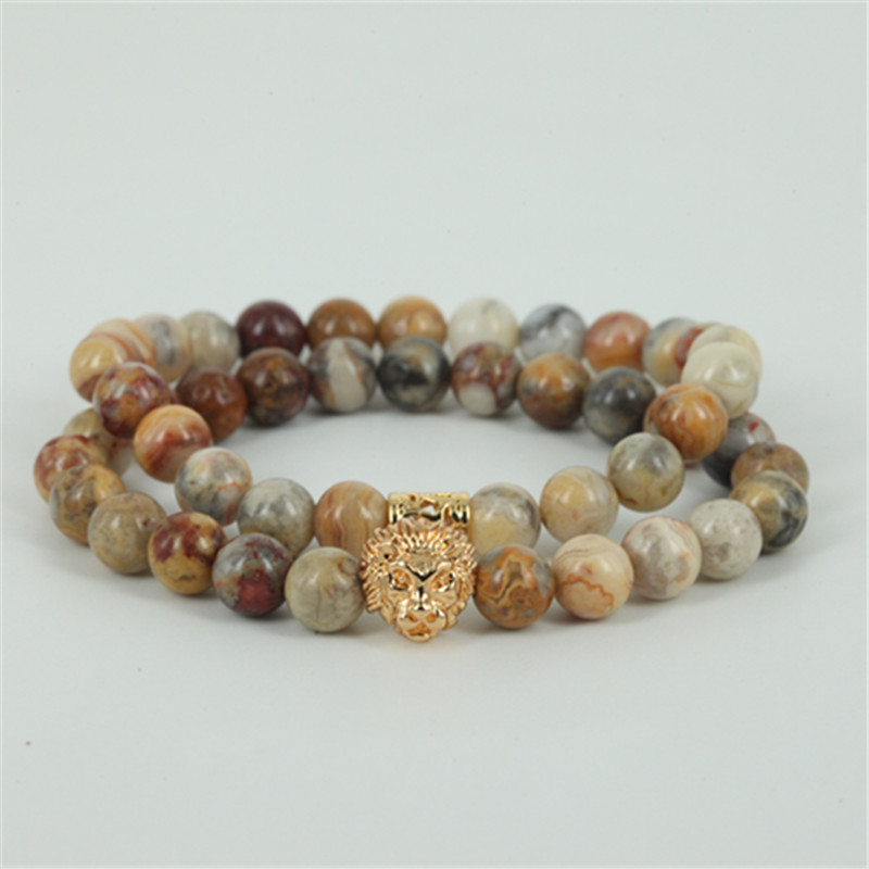 2pcs natural crazy stone round stone beads charm women bracelet beaded lion head men stretch bracelet