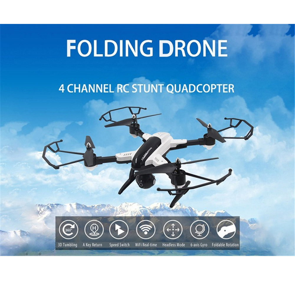 Foldable Design RC Quadcopter 2.4GHz 4CH 6-axis Gyro HD WiFi Real-time Transmission Drone Dron 3D Tumbling Mode Fly Helicopter original jjrc h28 4ch 6 axis gyro removable arms rtf rc quadcopter with one key return headless mode drone