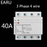 40A 380V 3P+N Din Rail Self Recovery Automatic Reconnect Over & Under Voltage Lightening Protection Protector Protective Relay