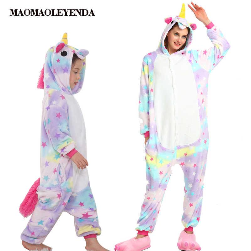 Дети Единорог Пижама для взрослых зимняя Пижама Ночное белье для Для женщин  мальчиков Домашняя одежда с 715837301d462