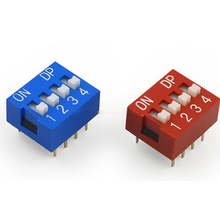 High Quality Hot 10 Pcs 2 Row 8 Pin 4P Positions 2.54mm Pitch DP Switch Blue And Red