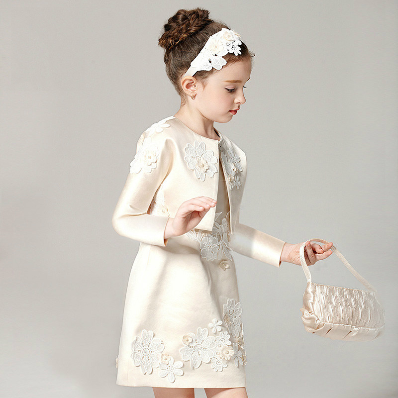 Girls Wedding Dress Evening Party Dresses For 2 3 4 5 6 7 8 9 10 11 12 Years Old Princess Girls 2pcsset Royal Court Clothes
