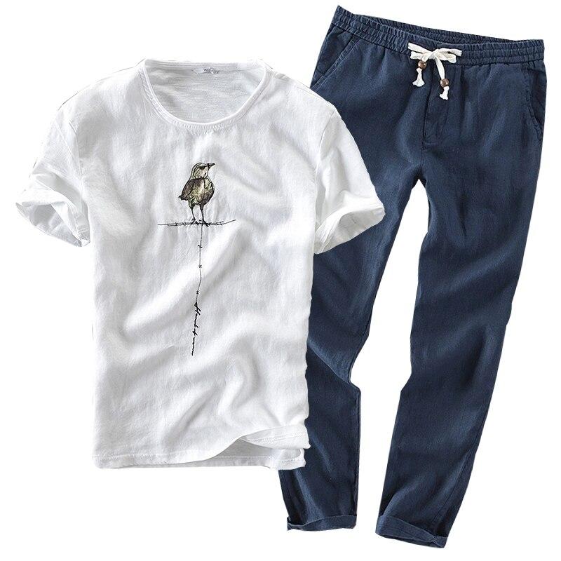 2019 Sinicism Fashion Male Summer High Quality Cotton Linen Short Sleeve T-shirts+pants/Men's Slim Fit Movement Suits Two-piece