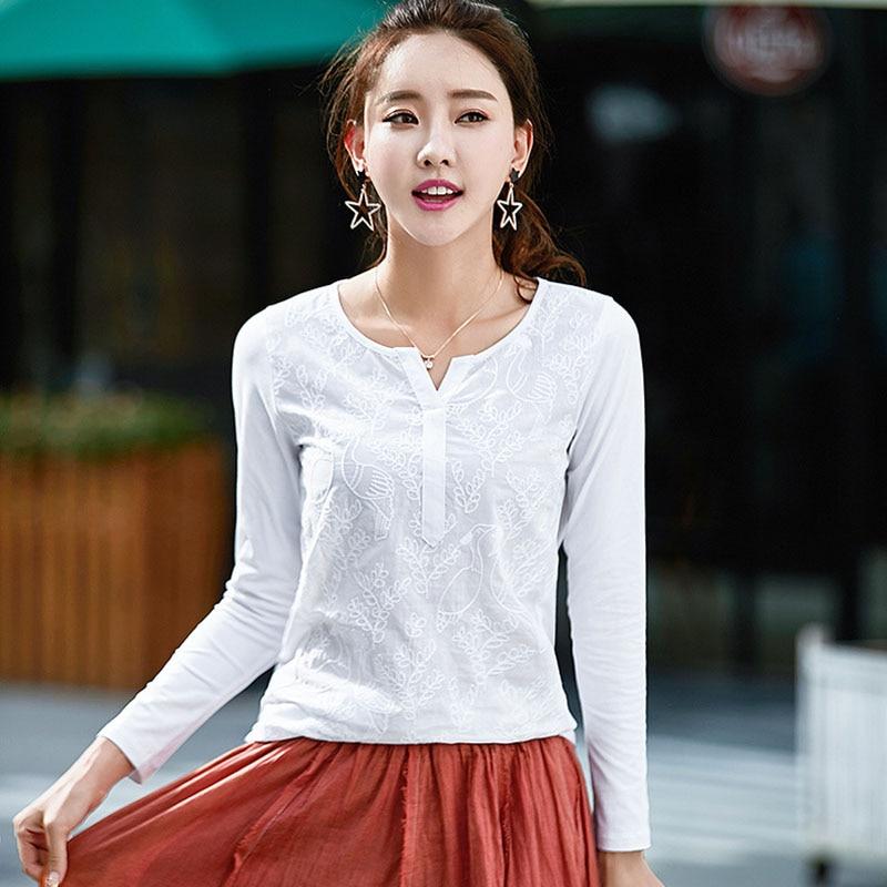 BOBOKATEER Embroidery Blouse Long Sleeve Shirt Women Blouses Shirts Cotton Ladies Tops Blusas Camisas Femininas Manga