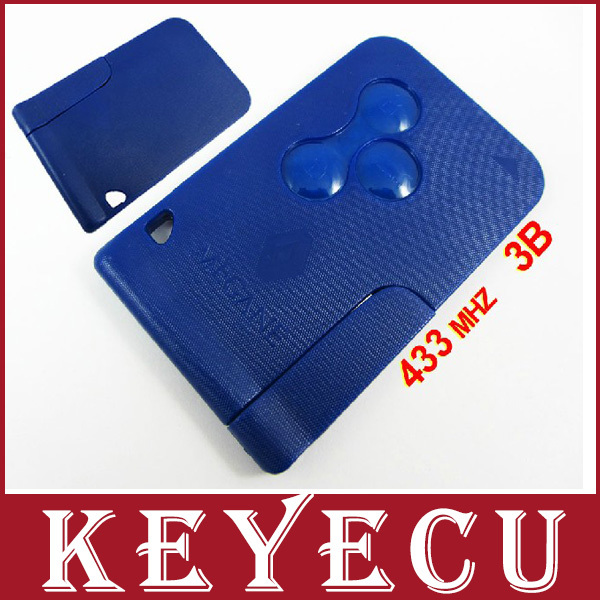 BRAND NEW High Quality Remote Key For Renault Megane Smart Card 3 Button with Insert Small key blade 433Mhz ID46 Chip Blue Color brand new high quality remote key keyless alarm 2 button for renault laguna smart card with insert small key blade 434mhz