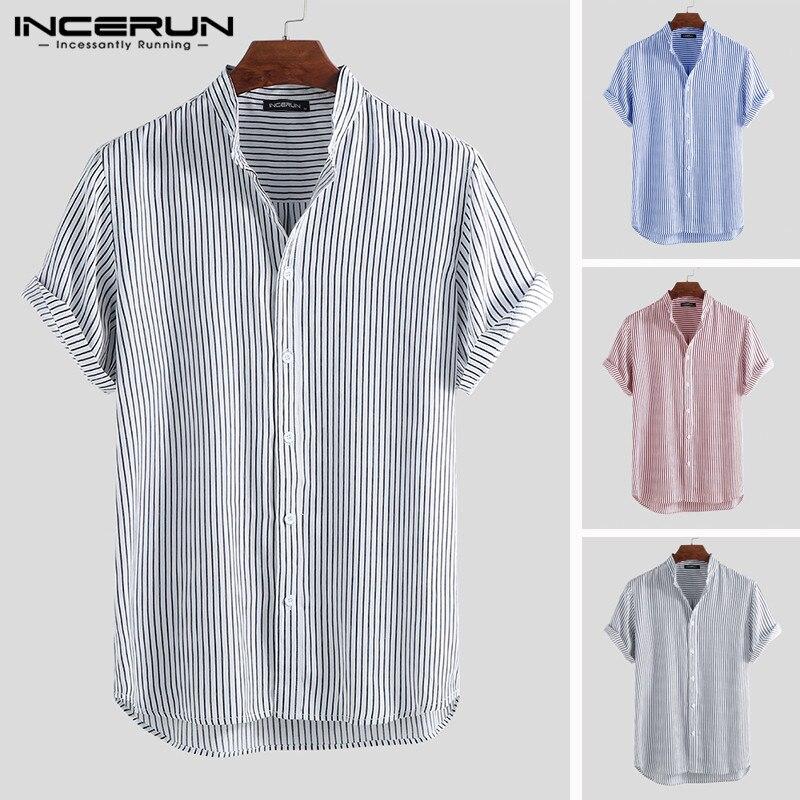 INCERUN Men Striped Shirt Breathable Chic Short Sleeve Vacation Stand Collar Tops Summer Beach Brand Shirts Men 2020 Streetwear