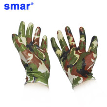 1 Pair nitrile gloves Women use Floral Wear Resistant Hands Protection Working PU Glove Green Gloves Homeworking(China)
