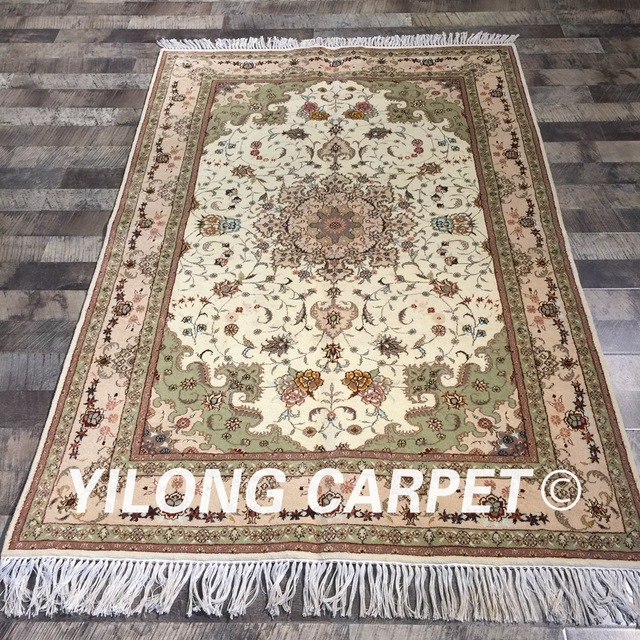 Yilong 4 X6 Persian Handknotted Wool Silk Rug Oriental Vintage Home Clic Plain Carpet Wy2096s4x6 In From Garden On