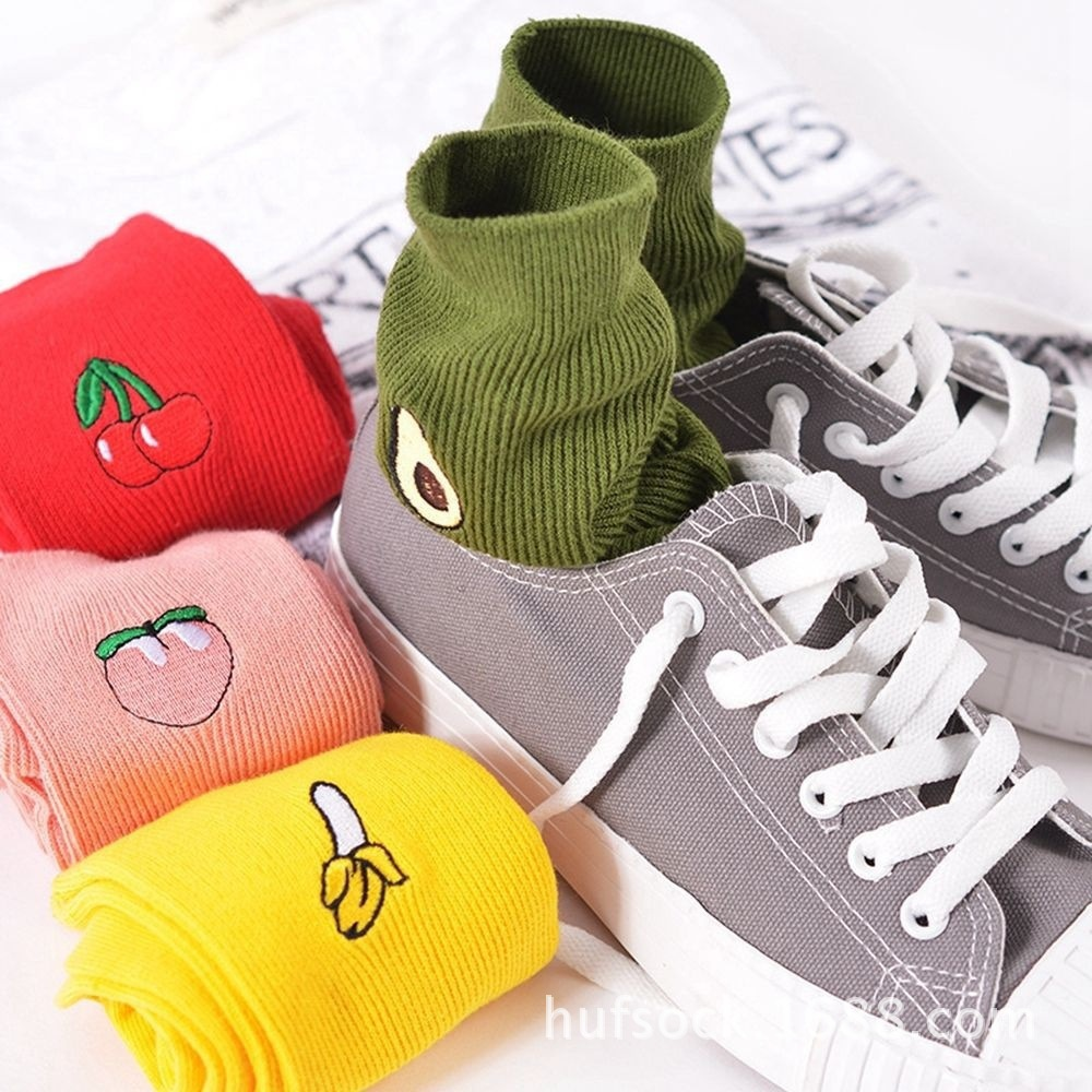 Korean Women's Kawaii Embroidery Fruit Knee   Socks   Cute Female Avocado Banana Cherry Peach Cartoon Long   Sock   Pink Cotton   Sock