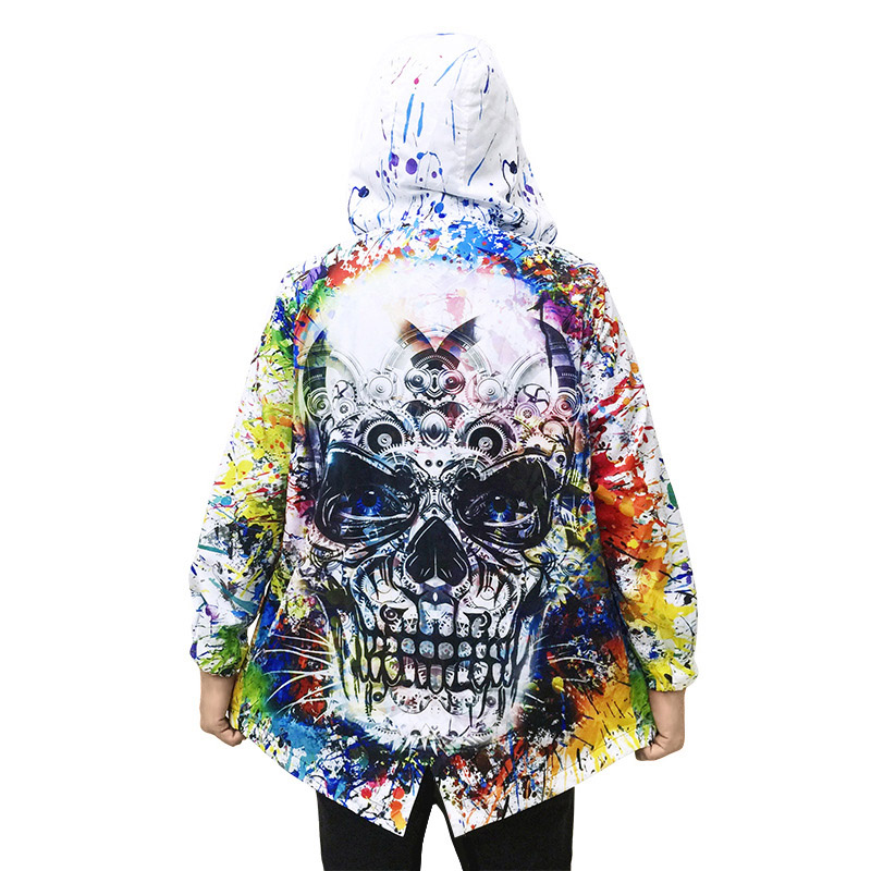 Mens Long Hooded Trench Coat 3D Skull Punk Rave Jacket Extended Vintage Steampunk Man Streetwear Fashion Halloween Windbreaker