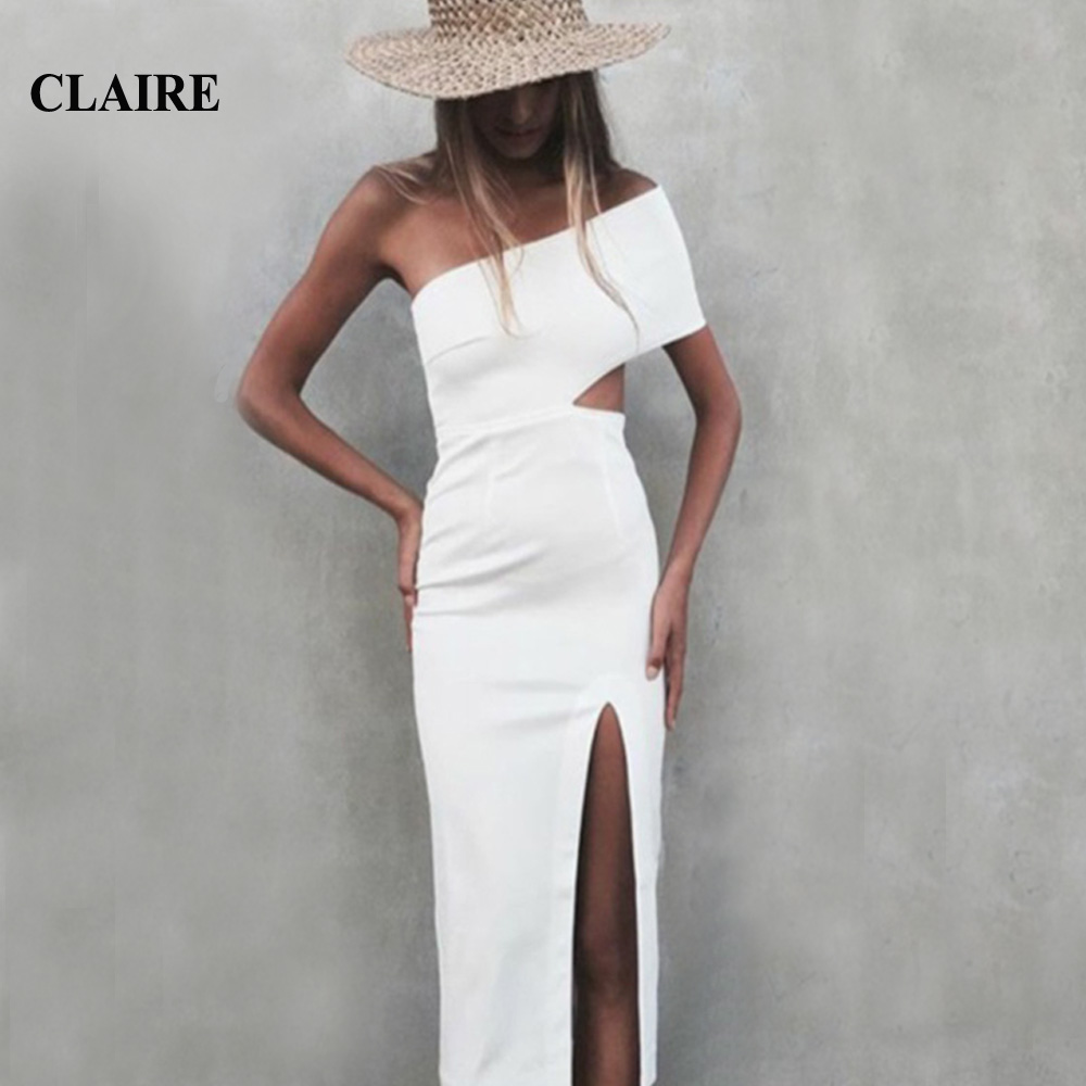 Buy CLAIRE High Quality Black White Bodycon Dress One Shoulder Celebrity Bandage Dresses for Cocktail and Party 2016 New Arrival
