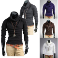 New Men's Casual Slim T-shirt Fitting Long Sleeve Turtleneck Knitting T Shirt Promotion Hot Sale Tee Tops 6 Colors 4 Size