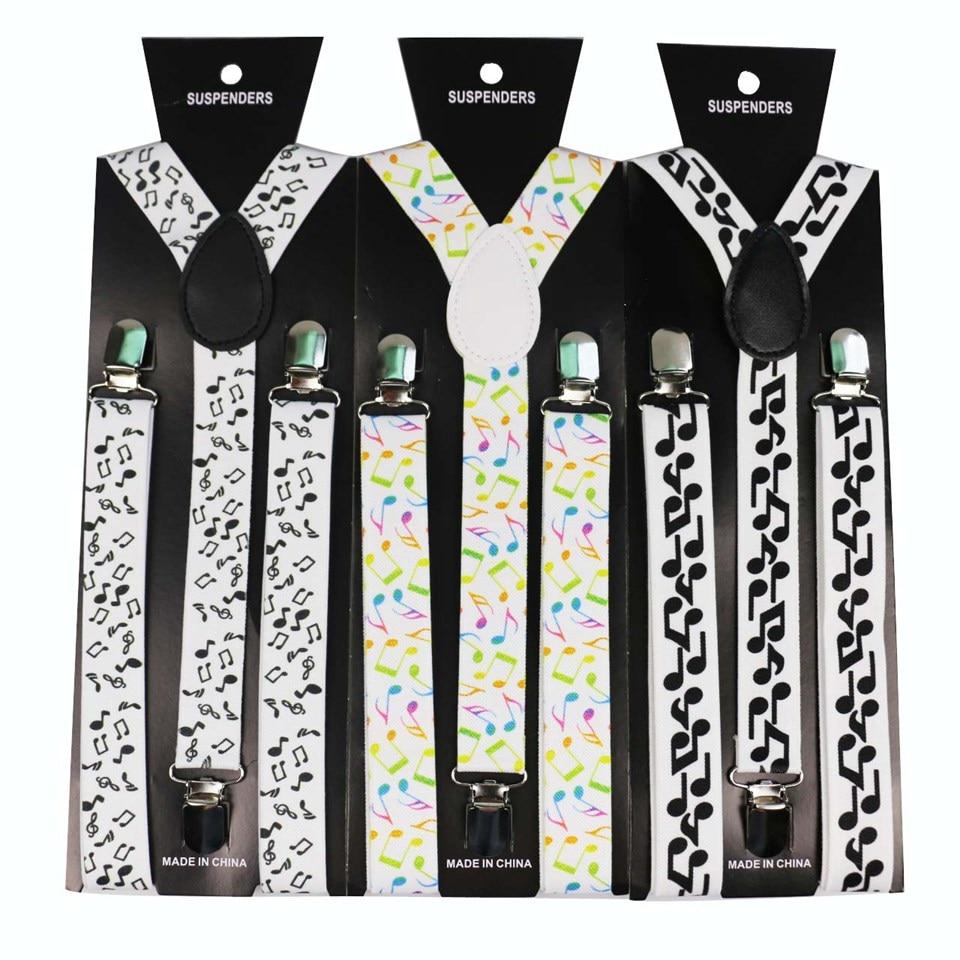Winfox Fashion 2.5cm Wide Black White Musical Note Suspenders For Women Men Elastic Braces Brace Pants