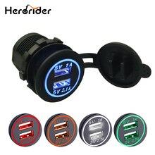 Herorider Waterproof Car Charger 12V 24V Universal Dual USB Car Charge Socket LED Digital Display Charging Socket For Iphone X