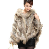 Winter Warm Natural Raccoon Fur Coats Women Real Fur Coats Genuine RabbIt Fur Knitted Outerwear Hooded Cloak CT305