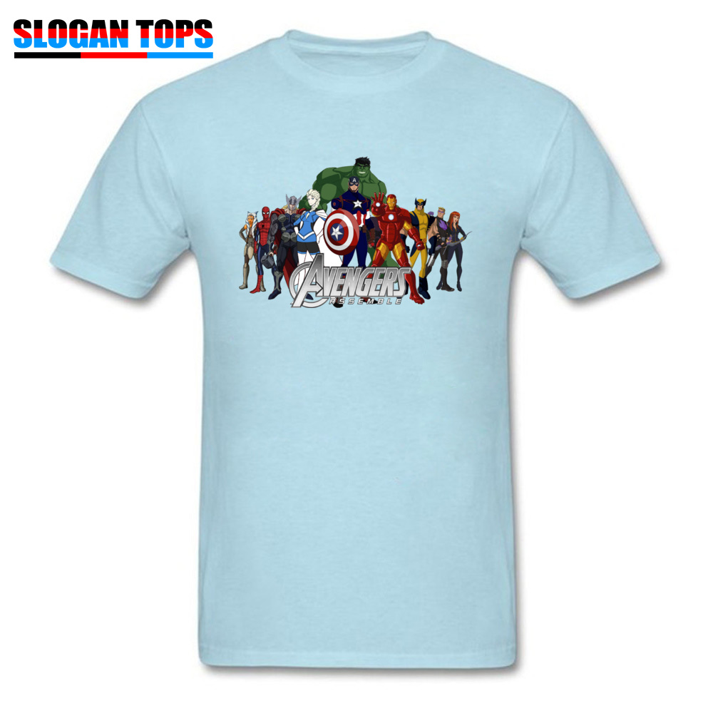 100% Cotton T-Shirt Men TShirt Captain America Hulk Black Widow Thor Avengers T Shirt Marvel Superhero Clothes Drop Shipping