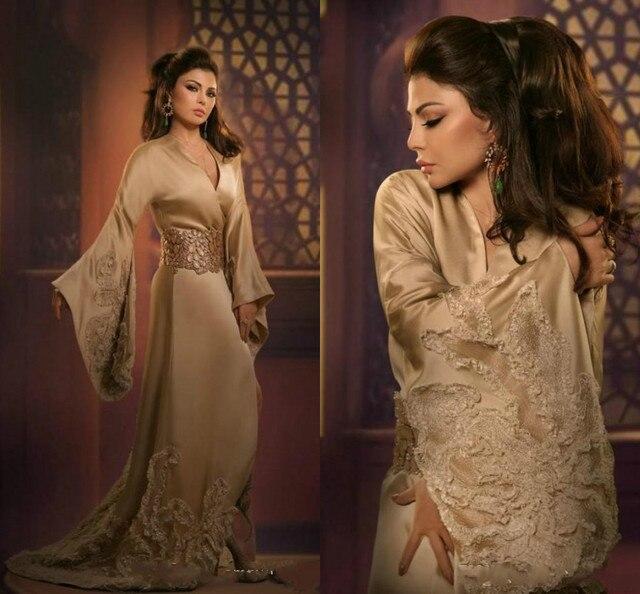 a0a0c2a83 New Arab Haifa Wehbe Long Poet Sleeve Formal Evening Dress Empire V-Neck  Sweep Train Applique Sparking Beaded Hot Corset