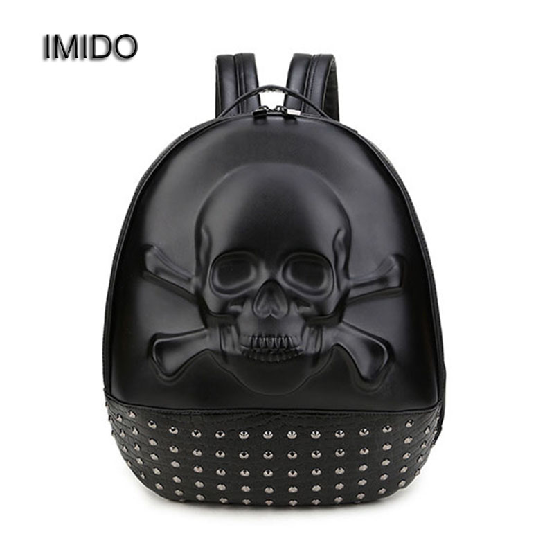 IMIDO New 2018 Fashion Personality 3D Skull Leather Backpack for Men Women Rivets School Bags Unisex Designer Travel Bag SLD107 new personality 3d skull leather small bag women backpack female shoulder bag school bags for teenagers girls casual travel bag