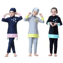 Girls Muslim Swimwears Islamic Children Two-piece Long Sleeve Swimsuits Arab Islam Beach Wear Swimming Diving Suits Burkinis(China)