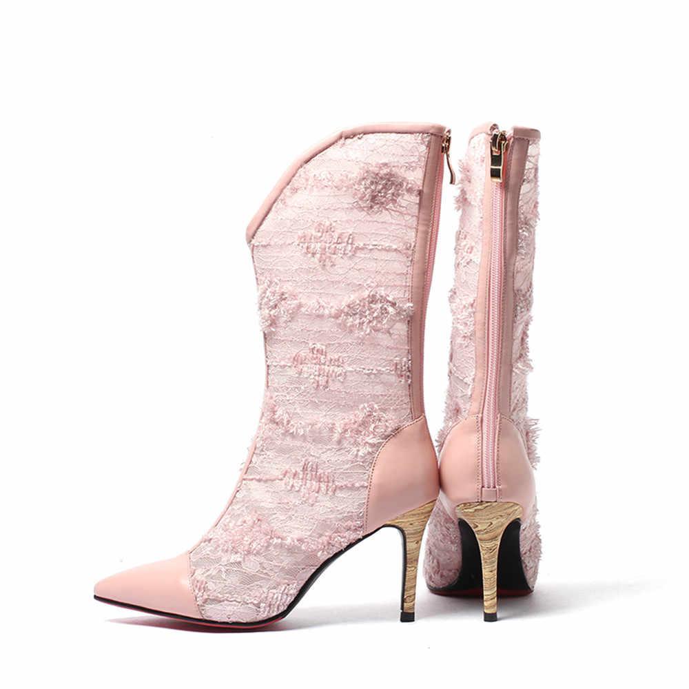 Модные пикантные туфли на очень высоком каблуке; женские ботинки; женская обувь Весна-осень шелковая пряжа net однотонные сапоги до середины голени на молнии размеры 34–42